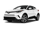 Stock pictures of low aggressive front three quarter view of 2019 Toyota C-HR Limited Door SUV Low Aggressive