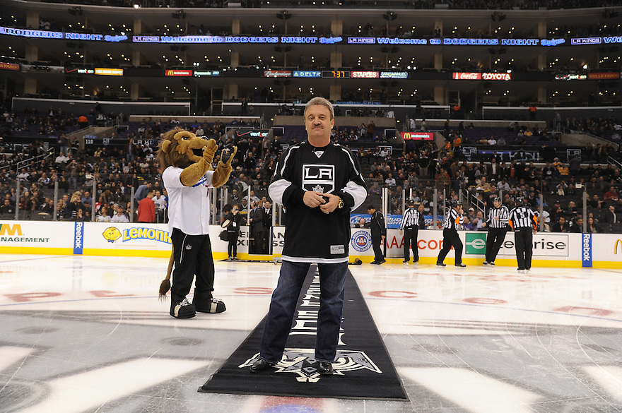 Dodgers Night at the Los Angeles Kings game against the Phoenix Coyotes Thursday February 16, 2012. Dodgers General Manager Ned Colletti participates in the ceremonial puck drop.<br /> &copy; Jon SooHoo/Los Angeles Dodgers 2012