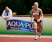 Photo: Richard Lane/Richard Lane Photography..Aviva World Trials & UK Championships athletics. 12/07/2009. Sophie Hine runs in during the women's high jump.