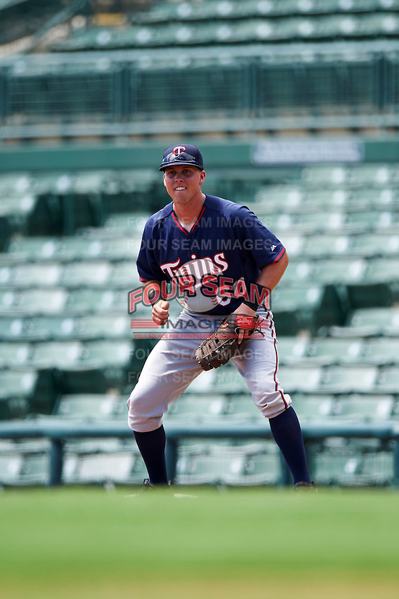 GCL Twins first baseman Brian Olson (60) during a game against the GCL Orioles on August 11, 2016 at the Ed Smith Stadium in Sarasota, Florida.  GCL Twins defeated GCL Orioles 4-3.  (Mike Janes/Four Seam Images)