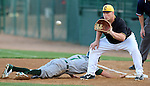 SIOUX FALLS, SD - MAY 20:  Chase Burch #23 from the Sioux Falls Canaries waits for the ball as Zac Mitchell #7 from the Gary Southshore Railcats dives back to first in the fifth inning Tuesday evening at the Canaries Stadium.  (Photo by Dave Eggen/Inertia)