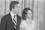 David Eisenhower with Julie Nixon - President Richard Nixon Resignation At White House In Washington On August 9th 1974 - A break in at the Democratic National Committee headquarters at the Watergate complex on June 17, 1972 results in one of the biggest political scandals the US government has ever seen.  Effects of the scandal ultimately led to the resignation of  President Richard Nixon, on August 9, 1974, the first and only resignation of any U.S. President.