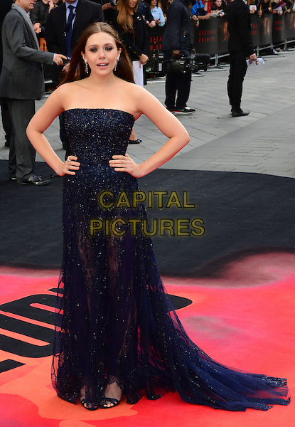 LONDON, ENGLAND - MAY 11:  Elizabeth Olsen attend Godzilla UK film premiere, remake of action adventure, featuring the iconic film monster that terrorises Japan, at Odeon Leicester Square, 24-26 Leicester Square, on May 11, 2014, in London, England.  <br /> CAP/JOR<br /> &copy;Nils Jorgensen/Capital Pictures