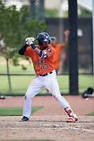 GCL Astros third baseman Yeuris Ramirez (13) at bat during a game against the GCL Marlins on August 5, 2018 at FITTEAM Ballpark of the Palm Beaches in West Palm Beach, Florida.  GCL Astros defeated GCL Marlins 2-1.  (Mike Janes/Four Seam Images)