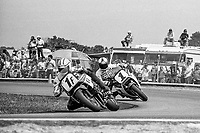Mike Baldwin, #1F Yamaha, leads Fred Merkel, #1 Honda, Daytona 200, AMA Superbikes, Daytona International Speedway, Daytona Beach, FL, March 9, 1986.(Photo by Brian Cleary/bcpix.com)