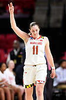 College Park, MD - March 23, 2019: Maryland Terrapins guard Taylor Mikesell (11) celebrates a three point basket during first round action of game between Radford and Maryland at Xfinity Center in College Park, MD. Maryland defeated Radford 73-51. (Photo by Phil Peters/Media Images International)