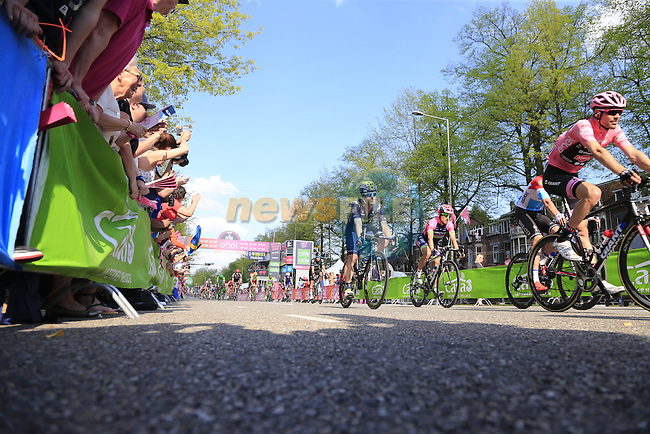 Race leader Tom Dumoulin (NED) Team Giant-Alpecin crosses the finish line in Nijmegen at the end of Stage 2 of the 2016 Giro d'Italia running 190km from Arnhem to Nijmegen, The Nethrerlands. 7th May 2016.<br /> Picture: Eoin Clarke | Newsfile<br /> <br /> <br /> All photos usage must carry mandatory copyright credit (&copy; Newsfile | Eoin Clarke)