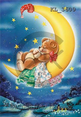 Interlitho, Michele, CUTE ANIMALS, paintings, bear on moon(KL3609,#AC#) illustrations, pinturas ,everyday