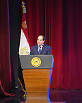 Egyptian President Abdel Fattah al-Sisi speaks during the conference of communications and information technology, in Cairo, Egypt, on December 3, 2017. Photo by Egyptian President Office