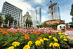 The Portland Festival of Flowers at Pioneer Square in downtown Portland Oregon.