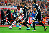 9th September 2017, bet365 Stadium, Stoke-on-Trent, England; EPL Premier League football, Stoke City versus Manchester United; Saido Berahino of Stoke City is watched by Nemanja Matic of Manchester United