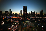 The Chicago skyline, Saturday Oct 11 2008. Americans will go to the polls on Nov 4, at a time of great Financial crisis, war in Iraq and Afghanistan, to elect a  new President. A vote, that will affect not only America, but the whole world. Photo by Eyal Warshavsky .