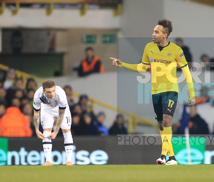 Dortmund's Pierre-Emerick Aubameyang celebrates scoring his sides opening goal  during the Europa League match at White Hart Lane Stadium.  Photo credit should read: David Klein/Sportimage