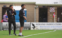 Lincoln City's assistant manager Nicky Cowley, left, and Lincoln City manager Danny Cowley<br /> <br /> Photographer Chris Vaughan/CameraSport<br /> <br /> The EFL Sky Bet League One - Lincoln City v Fleetwood Town - Saturday 31st August 2019 - Sincil Bank - Lincoln<br /> <br /> World Copyright © 2019 CameraSport. All rights reserved. 43 Linden Ave. Countesthorpe. Leicester. England. LE8 5PG - Tel: +44 (0) 116 277 4147 - admin@camerasport.com - www.camerasport.com