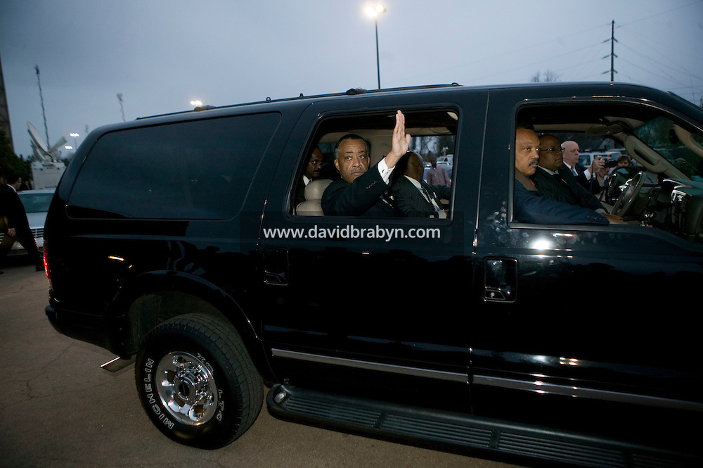 "30 December 2006 - Augusta, GA - Reverend Al Sharpton leaves the James Brown Arena in Augusta, USA, after attending the viewing of the casket and homecoming celebration for James Brown, 30 December 2006. Singer James Brown, also known as the ""Godfather of Soul"", died on Christmas Day 2006."
