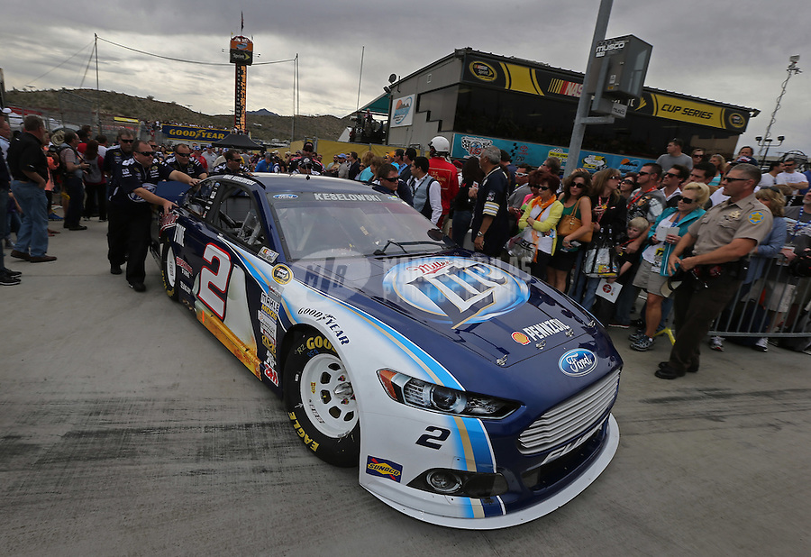 Mar. 3, 2013; Avondale, AZ, USA; NASCAR Sprint Cup Series driver Brad Keselowski during the Subway Fresh Fit 500 at Phoenix International Raceway. Mandatory Credit: Mark J. Rebilas-