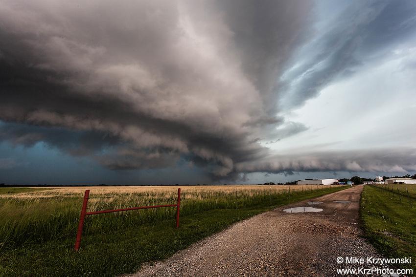 Severe Thunderstorm alongside a Dirt Road in Kansas