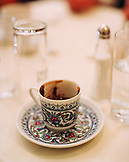 TURKEY, Istanbul, close-up of Turkish coffee cup at Refik Restaurant.