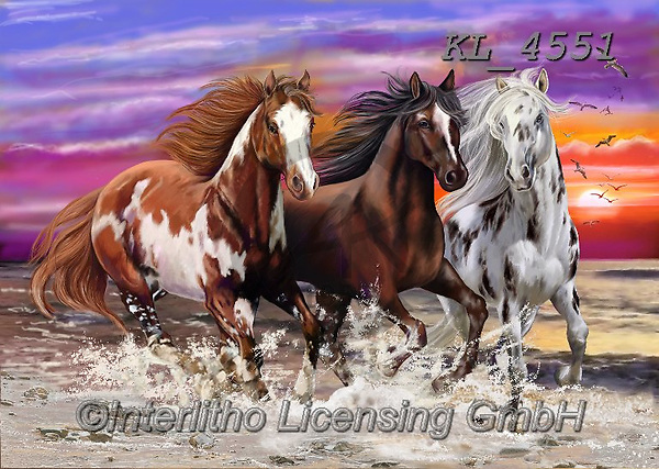 Interlitho-Franco, REALISTIC ANIMALS, REALISTISCHE TIERE, ANIMALES REALISTICOS, paintings+++++,3 horses,mustangs,KL4551,#a#, EVERYDAY ,puzzle,puzzles