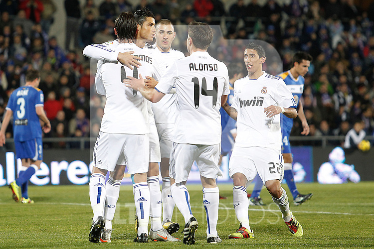 Real Madrid's Cristiano Ronaldo goal during la Liga match on January 3rd 2011...Photo: Cesar Cebolla / ALFAQUI