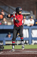 Rutgers Scarlet Knights outfielder Victor Valderrama (17) at bat against the Michigan Wolverines on April 26, 2019 in the NCAA baseball game at Ray Fisher Stadium in Ann Arbor, Michigan. Michigan defeated Rutgers 8-3. (Andrew Woolley/Four Seam Images)