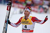 7th January 2018, Val di Fiemme, Fiemme Valley, Italy; FIS Cross Country World Cup, Tour de ski; Mens 9km F Pursuit; Alex Harvey (CAN) celebrates as he crosses the finish line
