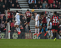 Bournemouth's Dominic Solanke battles (centre left) with Wolverhampton Wanderers' Danny Batth (centre right) <br /> <br /> Photographer David Horton/CameraSport<br /> <br /> The Premier League - Bournemouth v Wolverhampton Wanderers - Saturday 23 February 2019 - Vitality Stadium - Bournemouth<br /> <br /> World Copyright © 2019 CameraSport. All rights reserved. 43 Linden Ave. Countesthorpe. Leicester. England. LE8 5PG - Tel: +44 (0) 116 277 4147 - admin@camerasport.com - www.camerasport.com