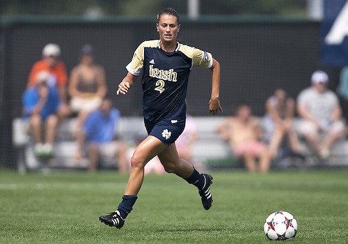 September 01, 2013:  Notre Dame midfielder Mandy Laddish (2) advances the ball upfield during NCAA Soccer match between the Notre Dame Fighting Irish and the UCLA Bruins at Alumni Stadium in South Bend, Indiana.  UCLA defeated Notre Dame 1-0.