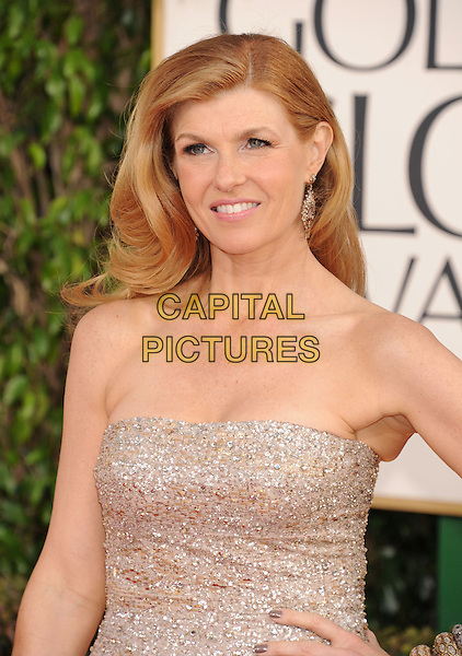 Connie Britton.Arrivals at the 70th Annual Golden Globe Awards held at the Beverly Hilton Hotel, Hollywood, California, USA..January 13th, 2013.globes half length dress silver strapless sparkly  .CAP/GAG.©GAG/Capital Pictures