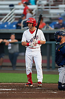 Auburn Doubledays Jake Alu (9) at bat during a NY-Penn League game against the Connecticut Tigers on July 12, 2019 at Falcon Park in Auburn, New York.  Auburn defeated Connecticut 7-5.  (Mike Janes/Four Seam Images)