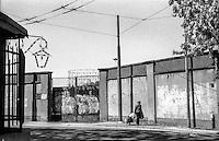 Milano, quartiere Bovisa, periferia nord. Via Bovisasca, gasometro --- Milan, Bovisa district, north periphery. Bovisasca street, gasometer