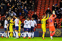 England and Ukraine plyers at the end of the game during the International Euro U21 Qualification match between England U21 and Ukraine U21 at Bramall Lane, Sheffield, England on 27 March 2018. Photo by Stephen Buckley / PRiME Media Images.