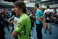 'Face the press'-time for Giro contenders Fabian Cancellara (SUI/Trek-Segafredo), Vincenzo Nibali (ITA/Astana) &  Rigoberto Uran (COL/Cannondale) ahead of the Grande Partenza in Apeldoorn (NLD): team presentation of the 99th Giro d'Italia 2016 on the evening before the 1st stage
