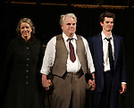 "Linda Emond, Phillip Seymour Hoffman & Andrew Garfield.during the Opening Night Performance Curtain Call for ""Death Of A Salesman"" at The Barrymore Theatre New York City on 3/15/2012."
