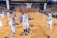 12 November 2010:  FIU's Eric Frederick (15) goes for a rebound in the first half as the FIU Golden Panthers defeated the Florida Memorial Lions, 89-73, at the U.S. Century Bank Arena in Miami, Florida.