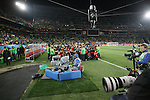 15 JUN 2010: Between the benches before the starters march onto the field. The Brazil National Team defeated the North Korea National Team 2-0 at Ellis Park Stadium in Johannesburg, South Africa in a 2010 FIFA World Cup Group G match.