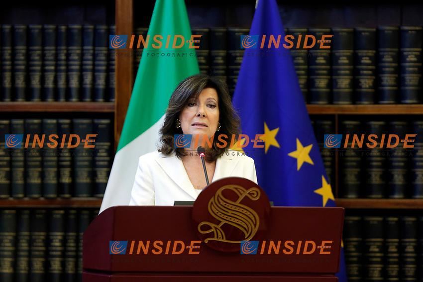 President of Italian Senate Elisabetta Alberti Casellati<br /> Rome April 18th 2019. Teen climate activist Greta Thunberg takes part in a seminar on climate at the Italian Senate.<br /> photo di Samantha Zucchi/Insidefoto