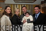 Christening: Celebrating the christening of their daughter Mara, Josephine & Noel Lyons and Godparents Michelle Murphy & Dan Lyons, at the Horseshoe Bar in  Listowel on Saturday last.