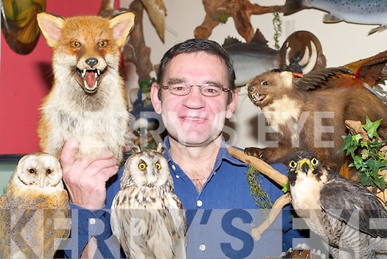 Kurt Ecker from Pinewood Taxidermy with some of his stuffed animals on Wednesday..