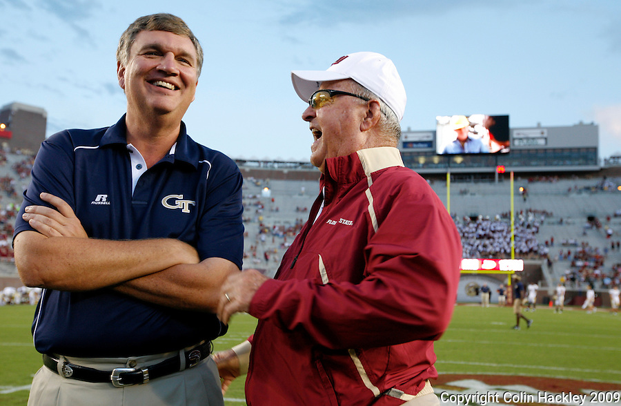 TALLAHASSEE, FL 10/10/09-FSU-Ga. Tech FB09 CH01-Florida State Head Coach Bobby Bowden, right, enjoys a laugh with Georgia Tech Head Coach Paul Johnson, prior to the game Saturday at Doak Campbell Stadium in Tallahassee. .COLIN HACKLEY PHOTO