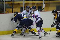 IJSHOCKEY: HEERENVEEN: THIALF: 16-01-2013, Friesland Flyers - Tilburg Trappers, Eindstand 1-3, Trevor Hunt (#24) en Michael Nason (# 9) met Tim Coffman (#22) in duel om de puck, ©foto Martin de Jong