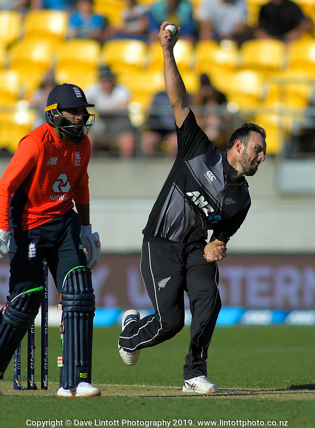 New Zealand's Daryl Mitchell bowls. Twenty20 International cricket match between NZ Black Caps and England at Westpac Stadium in Wellington, New Zealand on Sunday, 3 November 2019. Photo: Dave Lintott / lintottphoto.co.nz