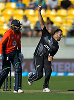 New Zealand's Daryl Mitchell bowls. Twenty20 International cricket match between NZ Black Caps and England at Westpac Stadium in Wellington, New Zealand on Sunday, 3 November 2019. Photo: Dave Lintott / lintottphoto.co.nz