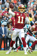 Landover, MD - October 14, 2018: Washington Redskins quarterback Alex Smith (11) throws a pass during the  game between Carolina Panthers and Washington Redskins at FedEx Field in Landover, MD.   (Photo by Elliott Brown/Media Images International)