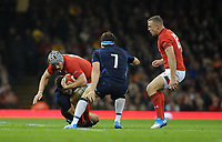 Wales' Jonathan Davies is tackled by Scotland's Lee Jones<br /> <br /> Photographer Ian Cook/CameraSport<br /> <br /> Under Armour Series Autumn Internationals - Wales v Scotland - Saturday 3rd November 2018 - Principality Stadium - Cardiff<br /> <br /> World Copyright &copy; 2018 CameraSport. All rights reserved. 43 Linden Ave. Countesthorpe. Leicester. England. LE8 5PG - Tel: +44 (0) 116 277 4147 - admin@camerasport.com - www.camerasport.com
