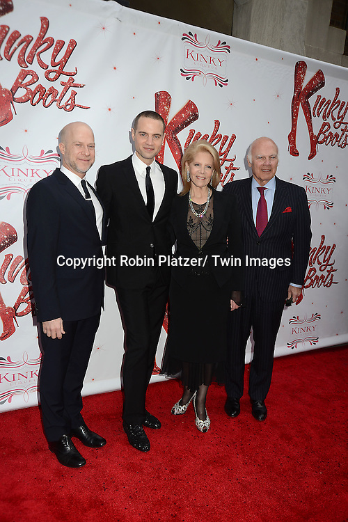 "Jordan Roth and husband  and family Daryl and Steve Roth arrive at the ""Kinky Boots"" Broadway Opening on April 4, 2013 at The Al Hirschfeld Theatre in New York City. Harvey Fierstein wrote is the Book Writer and Cnydi Lauper is the Composer."