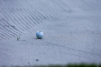 Tony Finau (USA) ball in the 18th fairway bunker during the 3rd round at the WGC HSBC Champions 2018, Sheshan Golf CLub, Shanghai, China. 27/10/2018.<br /> Picture Fran Caffrey / Golffile.ie<br /> <br /> All photo usage must carry mandatory copyright credit (&copy; Golffile | Fran Caffrey)