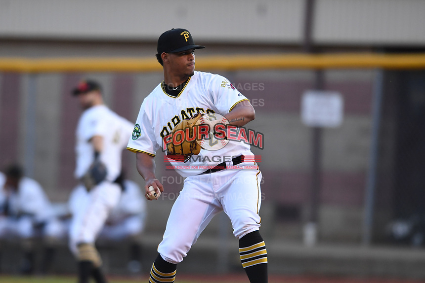 Bristol Pirates relief pitcher Luis Arrieta (25) in action during the game with the Burlington Royals at Boyce Cox Field on June 19, 2019 in Bristol, Virginia. The Royals defeated the Pirates 1-0. (Tracy Proffitt/Four Seam Images)