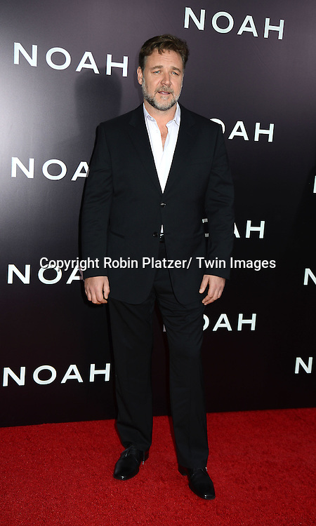"Russell Crowe attends the US Premiere of ""NOAH"" on March 26, 2014 at the Ziegfeld Theatre in New York City."