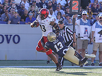 Annapolis, MD - September 23, 2017: Cincinnati Bearcats running back Gerrid Doaks (23) avoids the tackle by Navy Midshipmen safety Juan Hailey (13) during the game between Cincinnati and Navy at  Navy-Marine Corps Memorial Stadium in Annapolis, MD.   (Photo by Elliott Brown/Media Images International)